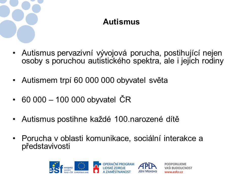 Autismus •Autismus pervazivní vývojová porucha, postihující nejen osoby s poruchou autistického spektra, ale i jejich rodiny •Autismem trpí 60 000 000