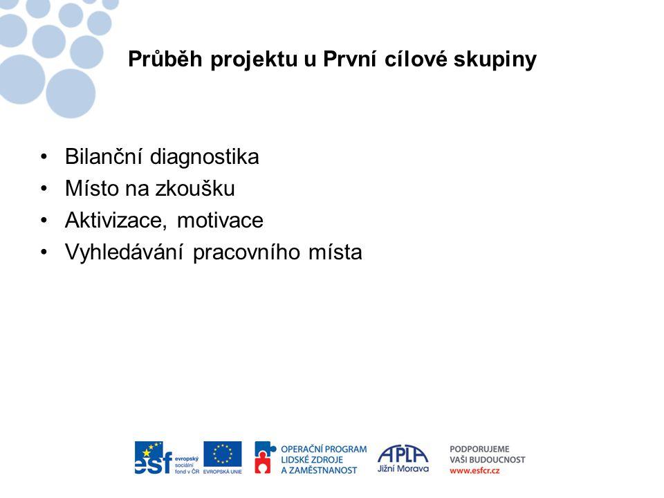 Průběh projektu u První cílové skupiny •Bilanční diagnostika •Místo na zkoušku •Aktivizace, motivace •Vyhledávání pracovního místa
