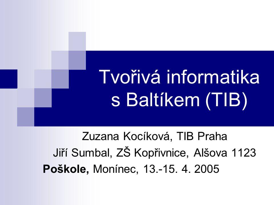 Tvořivá informatika s Baltíkem (TIB) Zuzana Kocíková, TIB Praha Jiří Sumbal, ZŠ Kopřivnice, Alšova 1123 Poškole, Monínec, 13.-15.