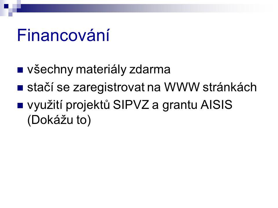 Financování  všechny materiály zdarma  stačí se zaregistrovat na WWW stránkách  využití projektů SIPVZ a grantu AISIS (Dokážu to)