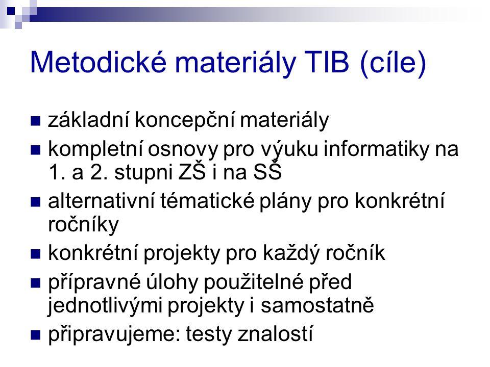 Metodické materiály TIB (cíle)  základní koncepční materiály  kompletní osnovy pro výuku informatiky na 1.
