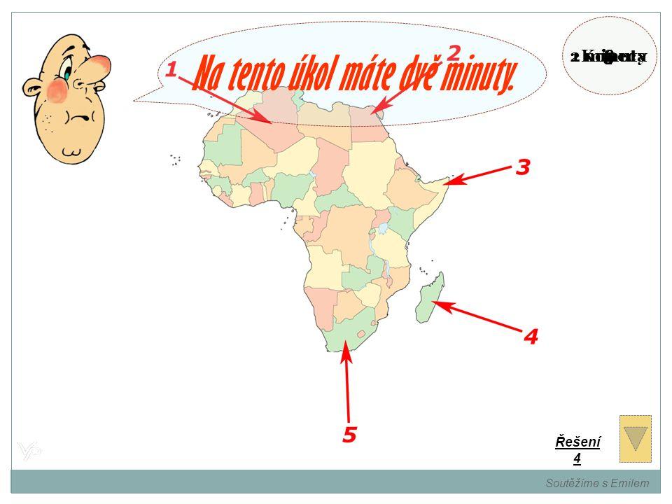 Pamatujete si státy Afriky? Určete názvy označených států a jejich hlavní města. Soutěžíme s Emilem