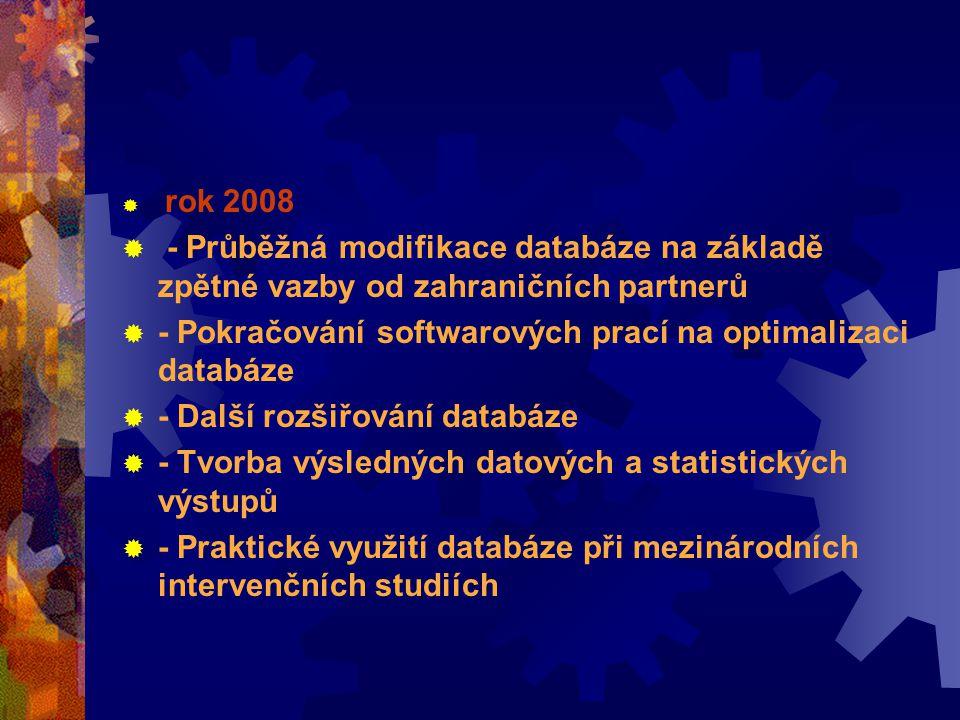  rok 2008  - Průběžná modifikace databáze na základě zpětné vazby od zahraničních partnerů  - Pokračování softwarových prací na optimalizaci databáze  - Další rozšiřování databáze  - Tvorba výsledných datových a statistických výstupů  - Praktické využití databáze při mezinárodních intervenčních studiích