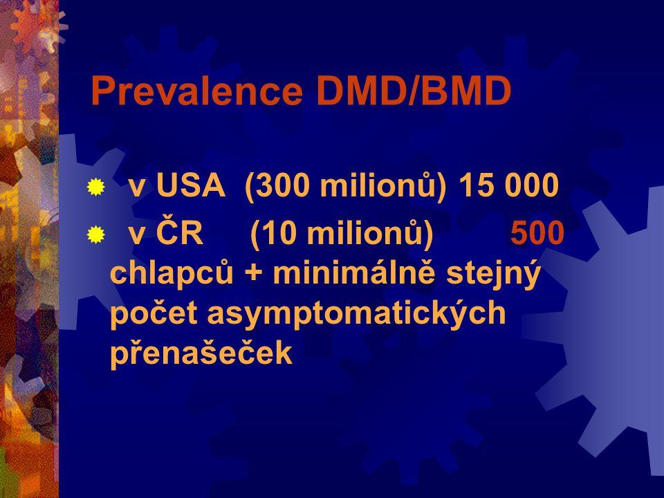 Prevalence DMD/BMD  v USA (300 milionů) 15 000  v ČR (10 milionů) 500 chlapců + minimálně stejný počet asymptomatických přenašeček