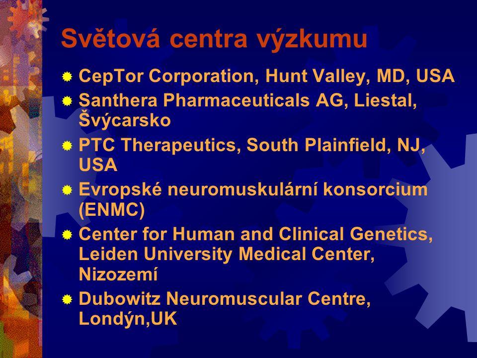 Světová centra výzkumu  CepTor Corporation, Hunt Valley, MD, USA  Santhera Pharmaceuticals AG, Liestal, Švýcarsko  PTC Therapeutics, South Plainfield, NJ, USA  Evropské neuromuskulární konsorcium (ENMC)  Center for Human and Clinical Genetics, Leiden University Medical Center, Nizozemí  Dubowitz Neuromuscular Centre, Londýn,UK