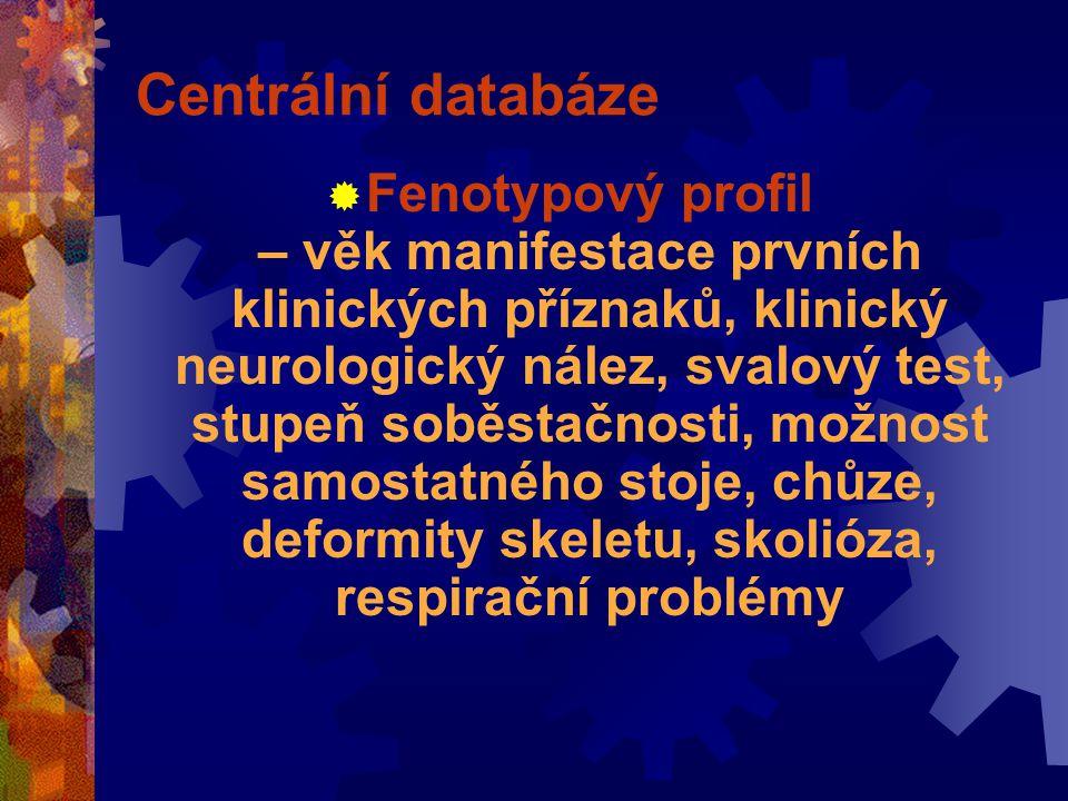 Centrální databáze  Fenotypový profil – věk manifestace prvních klinických příznaků, klinický neurologický nález, svalový test, stupeň soběstačnosti, možnost samostatného stoje, chůze, deformity skeletu, skolióza, respirační problémy