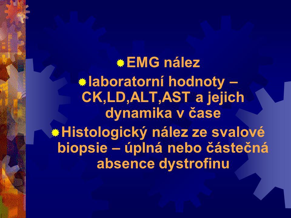  EMG nález  laboratorní hodnoty – CK,LD,ALT,AST a jejich dynamika v čase  Histologický nález ze svalové biopsie – úplná nebo částečná absence dystrofinu