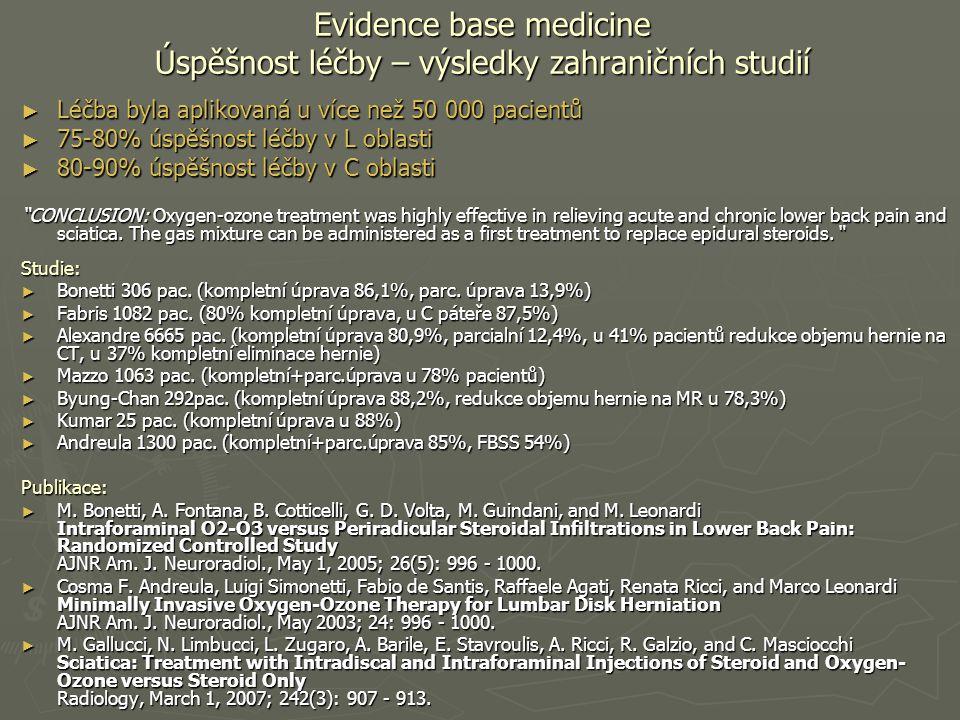 Evidence base medicine Úspěšnost léčby – výsledky zahraničních studií ► Léčba byla aplikovaná u více než 50 000 pacientů ► 75-80% úspěšnost léčby v L