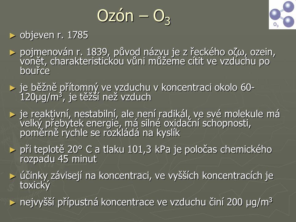 Ozón – O 3 ► objeven r. 1785 ► pojmenován r. 1839, původ názvu je z řeckého οζω, ozein, vonět, charakteristickou vůni můžeme cítit ve vzduchu po bouřc