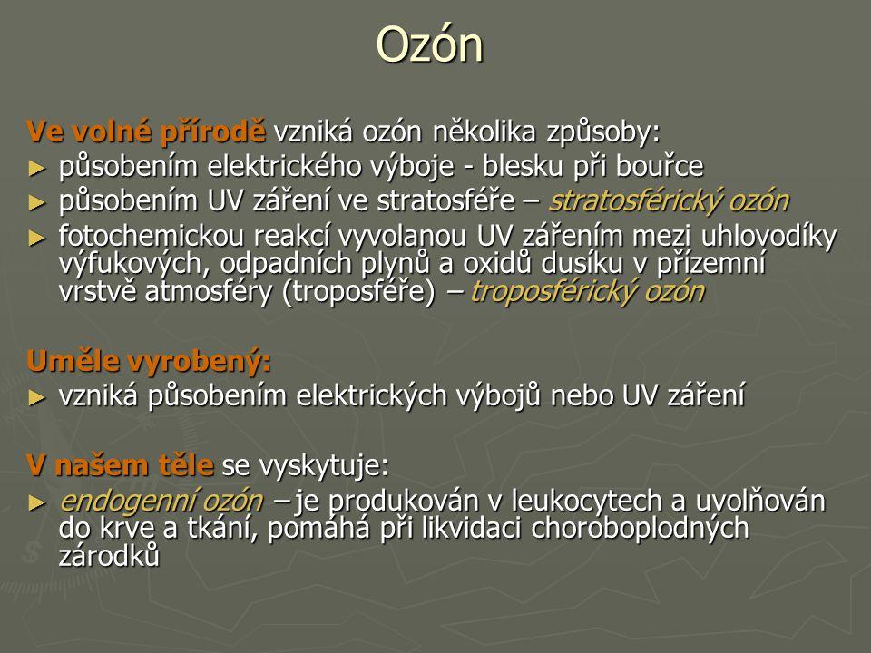 Ozón Ve volné přírodě vzniká ozón několika způsoby: ► působením elektrického výboje - blesku při bouřce ► působením UV záření ve stratosféře – stratos