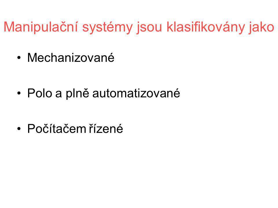 Manipulační systémy jsou klasifikovány jako •Mechanizované •Polo a plně automatizované •Počítačem řízené