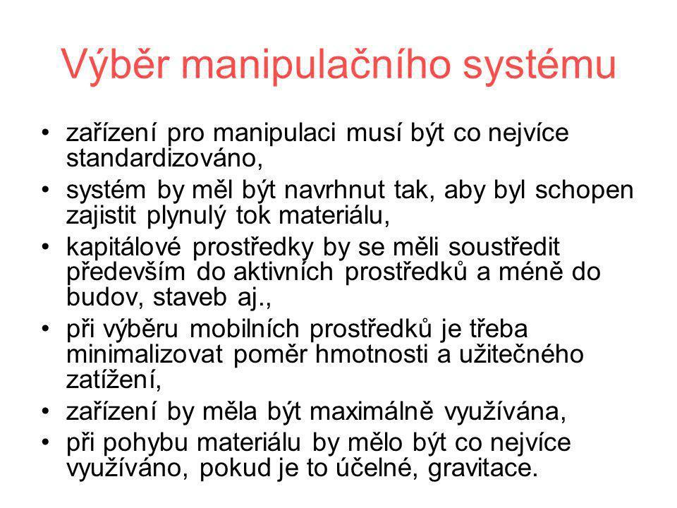 Výběr manipulačního systému •zařízení pro manipulaci musí být co nejvíce standardizováno, •systém by měl být navrhnut tak, aby byl schopen zajistit pl