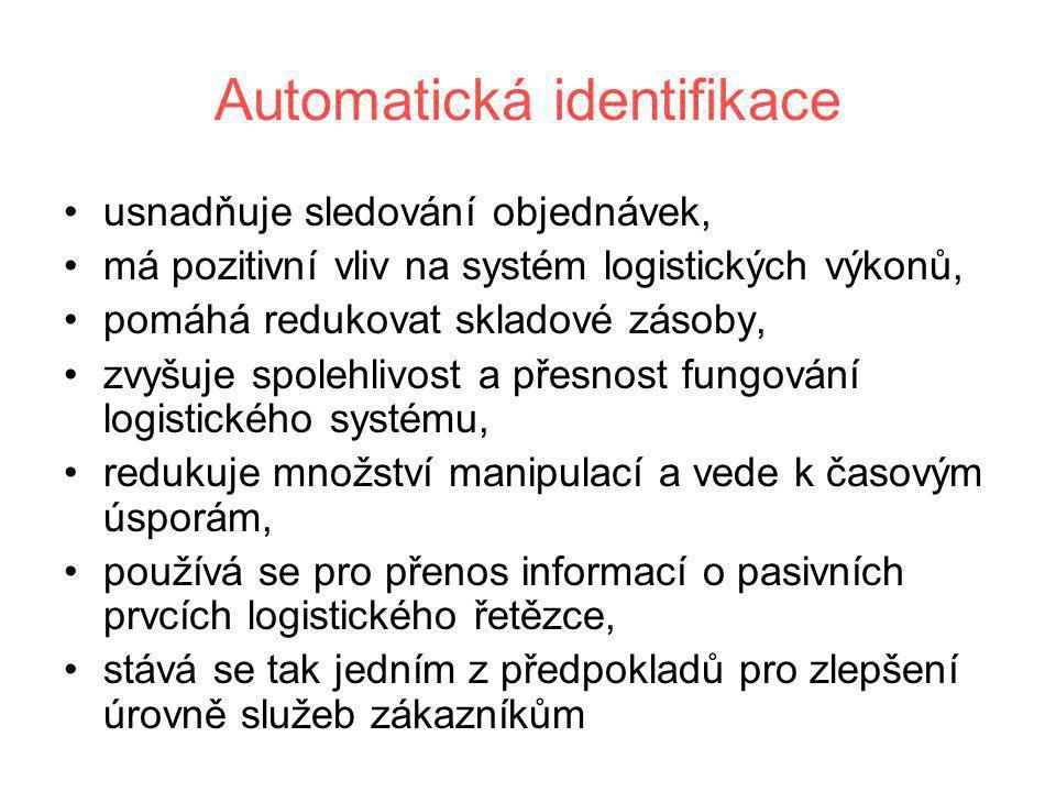 Automatická identifikace •usnadňuje sledování objednávek, •má pozitivní vliv na systém logistických výkonů, •pomáhá redukovat skladové zásoby, •zvyšuj