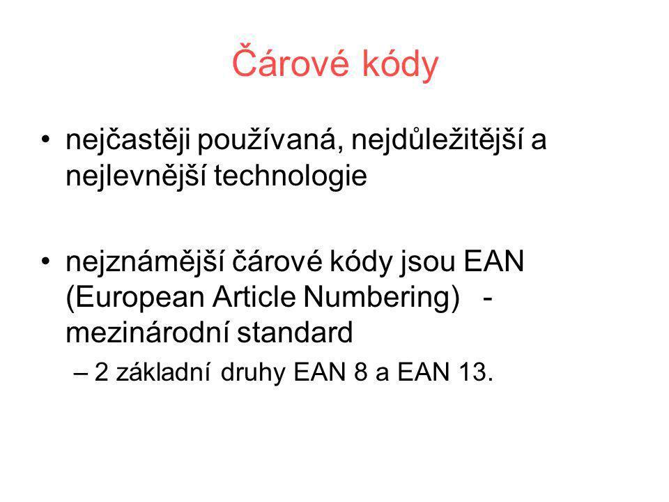 Čárové kódy •nejčastěji používaná, nejdůležitější a nejlevnější technologie •nejznámější čárové kódy jsou EAN (European Article Numbering) - mezinárod