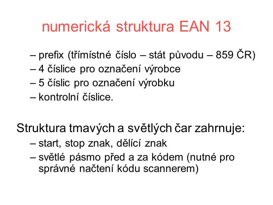 numerická struktura EAN 13 –prefix (třímístné číslo – stát původu – 859 ČR) –4 číslice pro označení výrobce –5 číslic pro označení výrobku –kontrolní