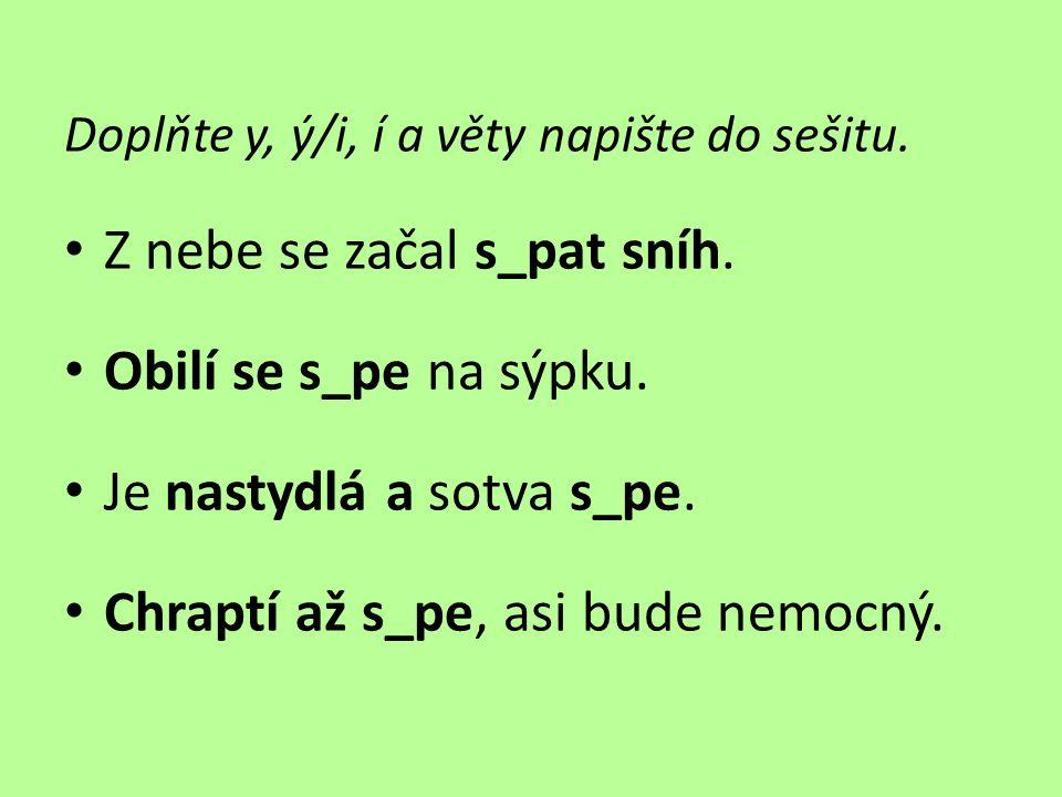 Doplňte y, ý/i, í a věty napište do sešitu.• Z nebe se začal s_pat sníh.