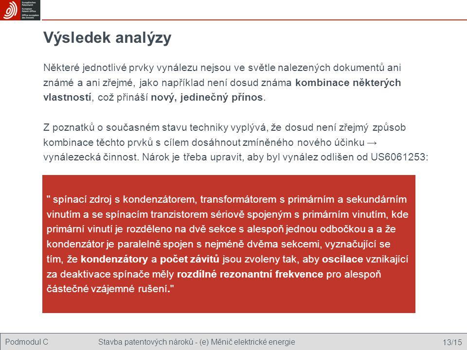 Podmodul CStavba patentových nároků - (e) Měnič elektrické energie 13/15