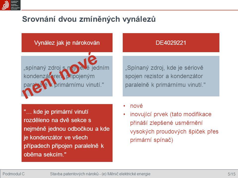 Podmodul CStavba patentových nároků - (e) Měnič elektrické energie 5/15
