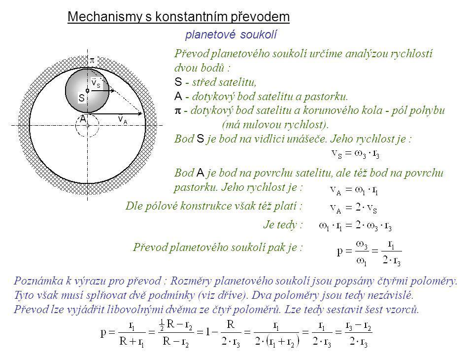 Mechanismy s konstantním převodem planetové soukolí Dynamika I, 9. přednáška Převod planetového soukolí určíme analýzou rychlostí dvou bodů : S - stře