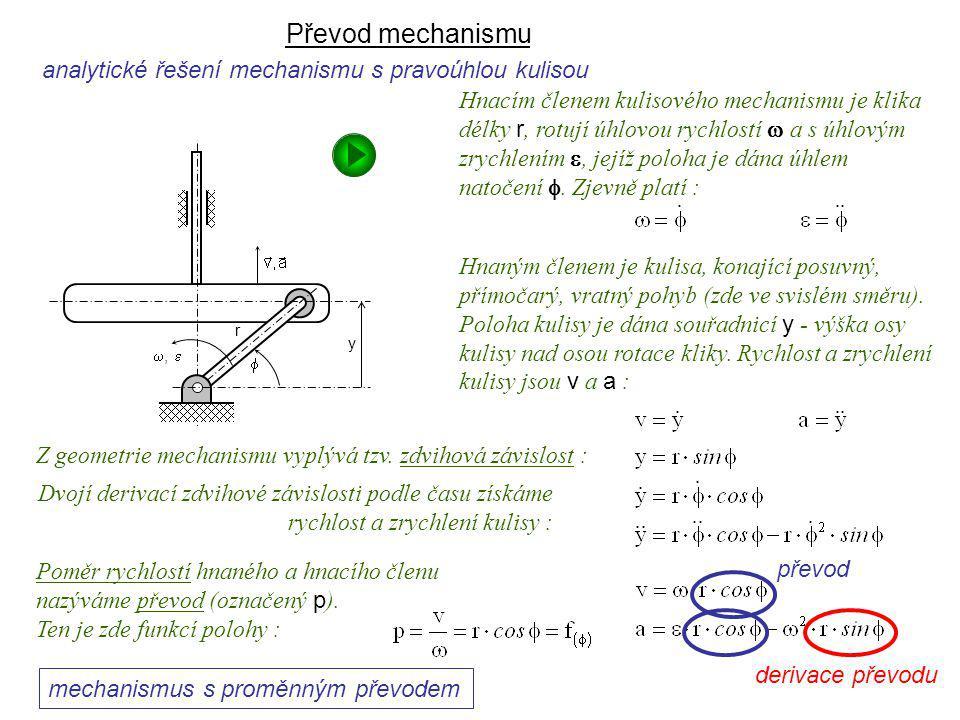 Převod mechanismu analytické řešení mechanismu s pravoúhlou kulisou převod mechanismus s proměnným převodem derivace převodu Dynamika I, 9. přednáška