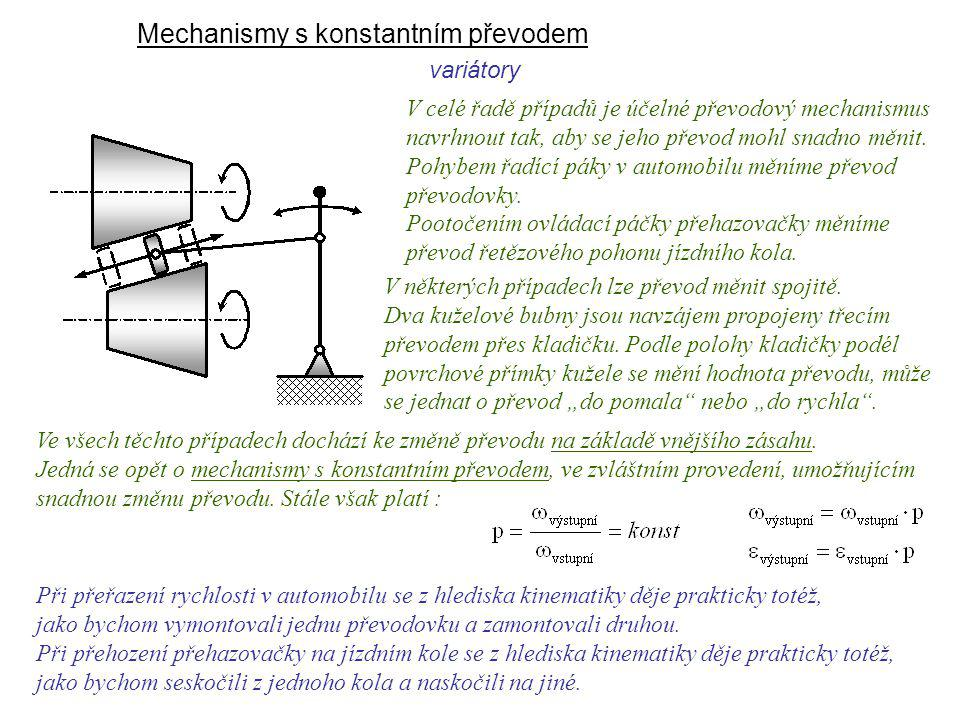 Mechanismy s konstantním převodem variátory Dynamika I, 9. přednáška V celé řadě případů je účelné převodový mechanismus navrhnout tak, aby se jeho př