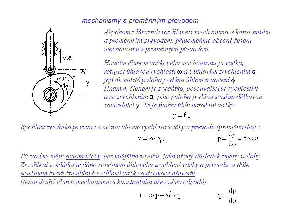 mechanismy s proměnným převodem Dynamika I, 9. přednáška Abychom zdůraznili rozdíl mezi mechanismy s konstantním a proměnným převodem, připomeňme obec