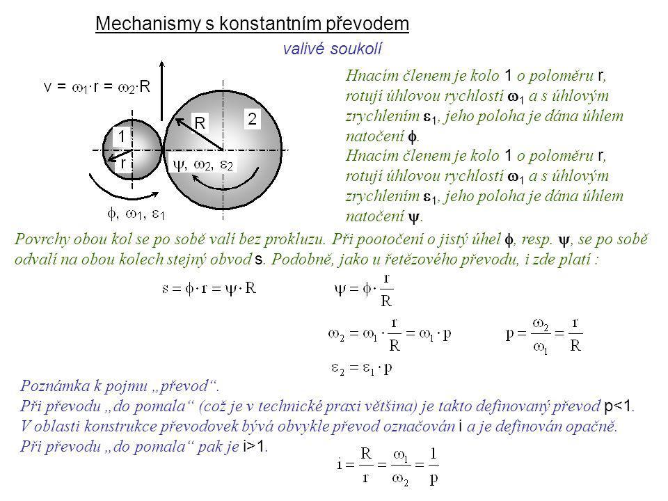 Mechanismy s konstantním převodem Dynamika I, 9. přednáška Hnacím členem je kolo 1 o poloměru r, rotují úhlovou rychlostí  1 a s úhlovým zrychlením 