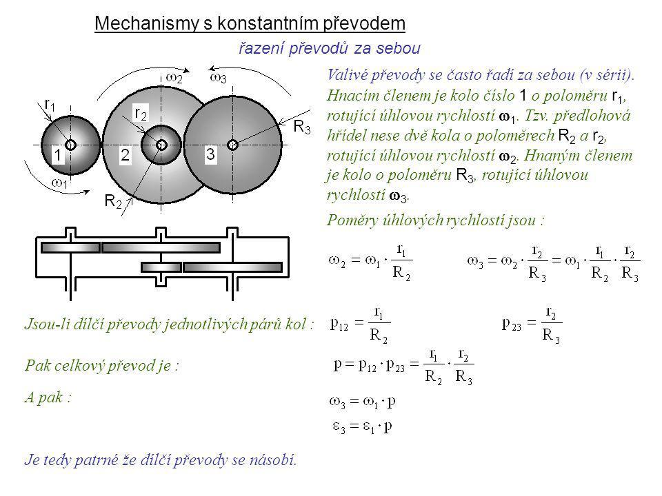 Mechanismy s konstantním převodem řazení převodů za sebou Je tedy patrné že dílčí převody se násobí. Dynamika I, 9. přednáška Valivé převody se často
