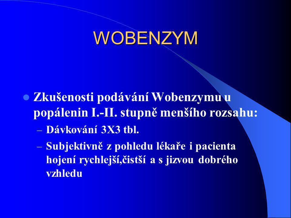 WOBENZYM  Zkušenosti podávání Wobenzymu u popálenin I.-II. stupně menšího rozsahu: – Dávkování 3X3 tbl. – Subjektivně z pohledu lékaře i pacienta hoj
