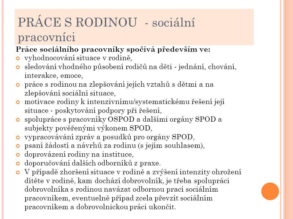 PRÁCE S RODINOU - sociální pracovníci Práce sociálního pracovníky spočívá především ve: vyhodnocování situace v rodině, sledování vhodného působení ro