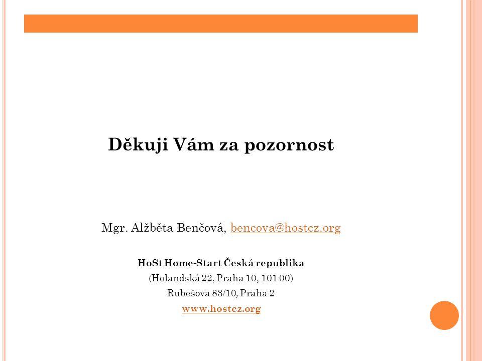 Děkuji Vám za pozornost Mgr. Alžběta Benčová, bencova@hostcz.orgbencova@hostcz.org HoSt Home-Start Česká republika (Holandská 22, Praha 10, 101 00) Ru
