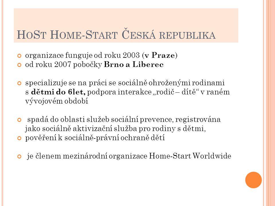 H O S T H OME -S TART Č ESKÁ REPUBLIKA organizace funguje od roku 2003 ( v Praze ) od roku 2007 pobočky Brno a Liberec specializuje se na práci se soc