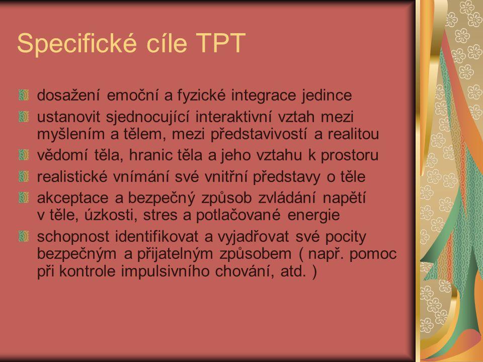Specifické cíle TPT dosažení emoční a fyzické integrace jedince ustanovit sjednocující interaktivní vztah mezi myšlením a tělem, mezi představivostí a
