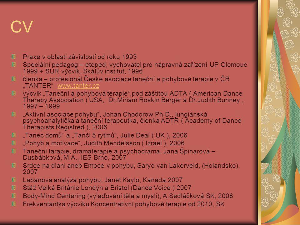 Praxe v TPT 1999 – 2000 Centrum prevence - klub Vrak bar Jihlava, klienti ve věku 15 – 21 let, experimentátoři, UD 2002 – Drogové služby ve vězení SPR, Věznice Kuřim, 7mi měsíční skupinová práce s UD, kombinace různých neverbálních technik 2006 – Doléčovací centrum Jamtana SPR 2006 – TK Podcestný mlýn SPR, dramaterapeutické představení v rámci Toxi Morality, kino Art Brno 2007 – substituční léčba, DPS Elysium SPR 2008 – 2009: o.s.Práh Brno TPT s duševně nemocnými 2007 – doposud: Věznice Kuřim, tanečně pohybová terapie 2009 – doposud: individuální TPT s klienty ve vězení a následné péči Semináře/ workshopy na konferencích, Kurzy SPR IES 2007, 2008, 2009, 2010, 2011 (květen)