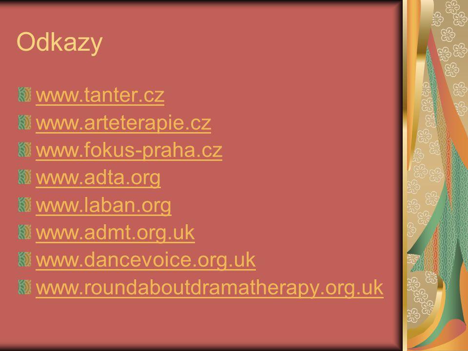 Odkazy www.tanter.cz www.arteterapie.cz www.fokus-praha.cz www.adta.org www.laban.org www.admt.org.uk www.dancevoice.org.uk www.roundaboutdramatherapy