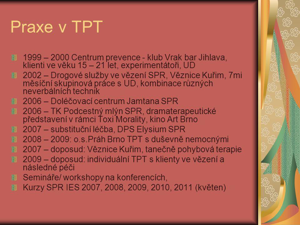 Praxe v TPT 1999 – 2000 Centrum prevence - klub Vrak bar Jihlava, klienti ve věku 15 – 21 let, experimentátoři, UD 2002 – Drogové služby ve vězení SPR