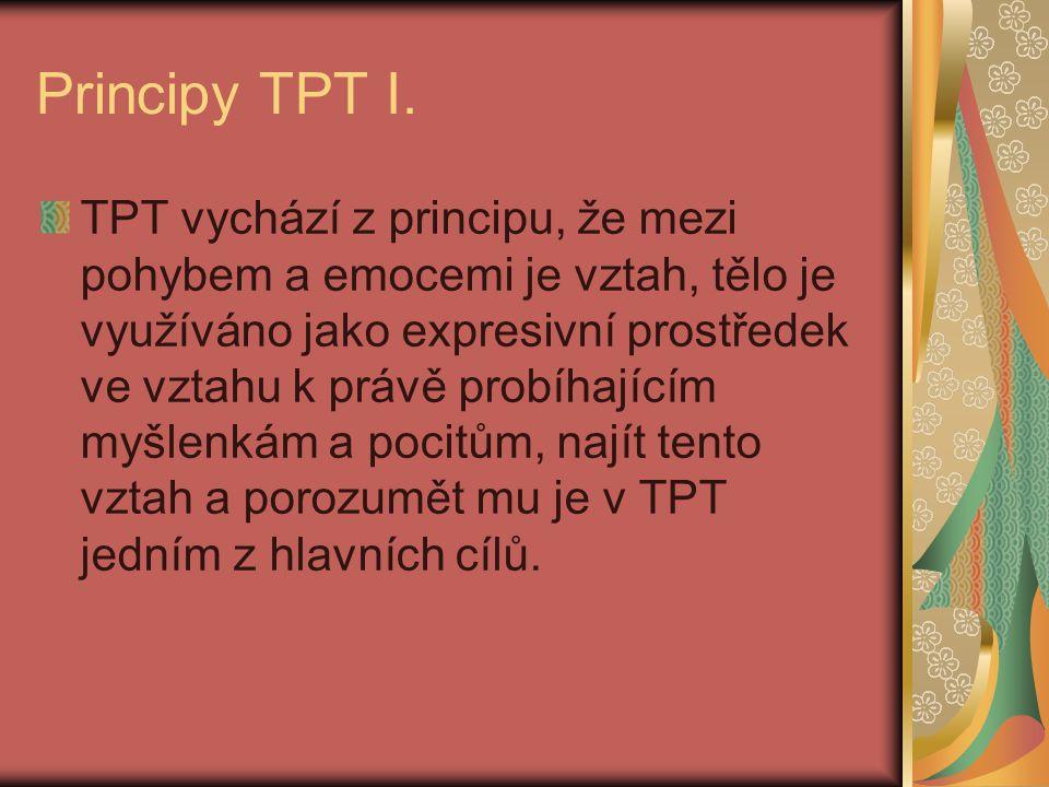Principy TPT I. TPT vychází z principu, že mezi pohybem a emocemi je vztah, tělo je využíváno jako expresivní prostředek ve vztahu k právě probíhající