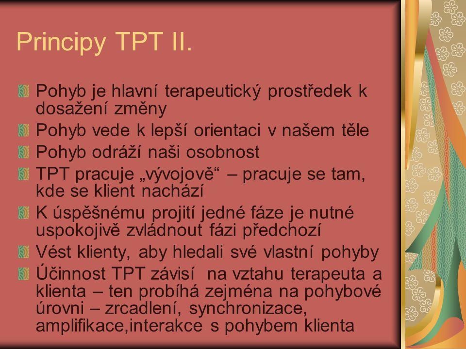 Principy TPT II. Pohyb je hlavní terapeutický prostředek k dosažení změny Pohyb vede k lepší orientaci v našem těle Pohyb odráží naši osobnost TPT pra
