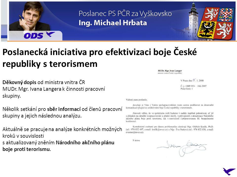 Děkovný dopis od ministra vnitra ČR MUDr.Mgr. Ivana Langera k činnosti pracovní skupiny.