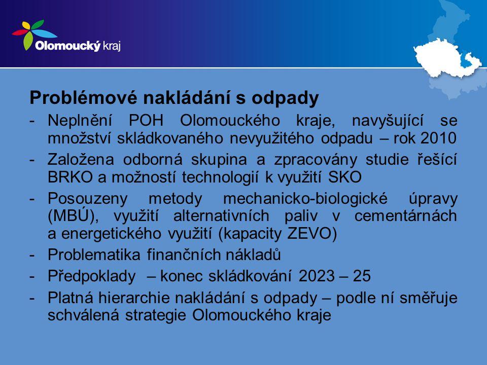 Problémové nakládání s odpady -Neplnění POH Olomouckého kraje, navyšující se množství skládkovaného nevyužitého odpadu – rok 2010 -Založena odborná skupina a zpracovány studie řešící BRKO a možností technologií k využití SKO -Posouzeny metody mechanicko-biologické úpravy (MBÚ), využití alternativních paliv v cementárnách a energetického využití (kapacity ZEVO) -Problematika finančních nákladů -Předpoklady – konec skládkování 2023 – 25 -Platná hierarchie nakládání s odpady – podle ní směřuje schválená strategie Olomouckého kraje