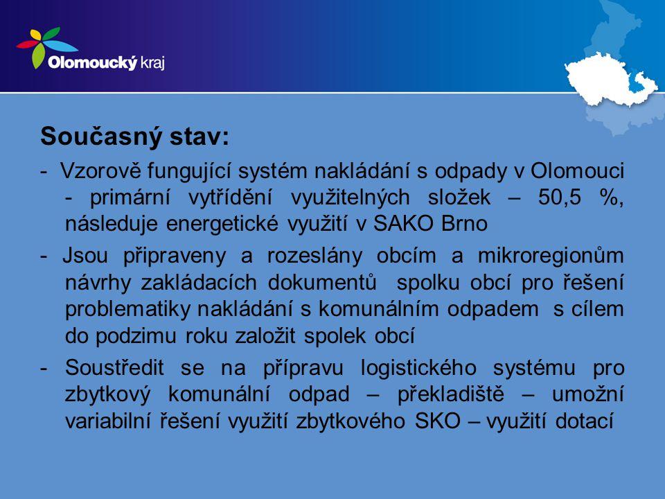 Současný stav: - Vzorově fungující systém nakládání s odpady v Olomouci - primární vytřídění využitelných složek – 50,5 %, následuje energetické využití v SAKO Brno - Jsou připraveny a rozeslány obcím a mikroregionům návrhy zakládacích dokumentů spolku obcí pro řešení problematiky nakládání s komunálním odpadem s cílem do podzimu roku založit spolek obcí -Soustředit se na přípravu logistického systému pro zbytkový komunální odpad – překladiště – umožní variabilní řešení využití zbytkového SKO – využití dotací