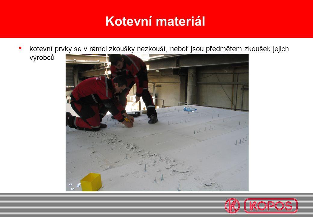 Kotevní materiál • kotevní prvky se v rámci zkoušky nezkouší, neboť jsou předmětem zkoušek jejich výrobců