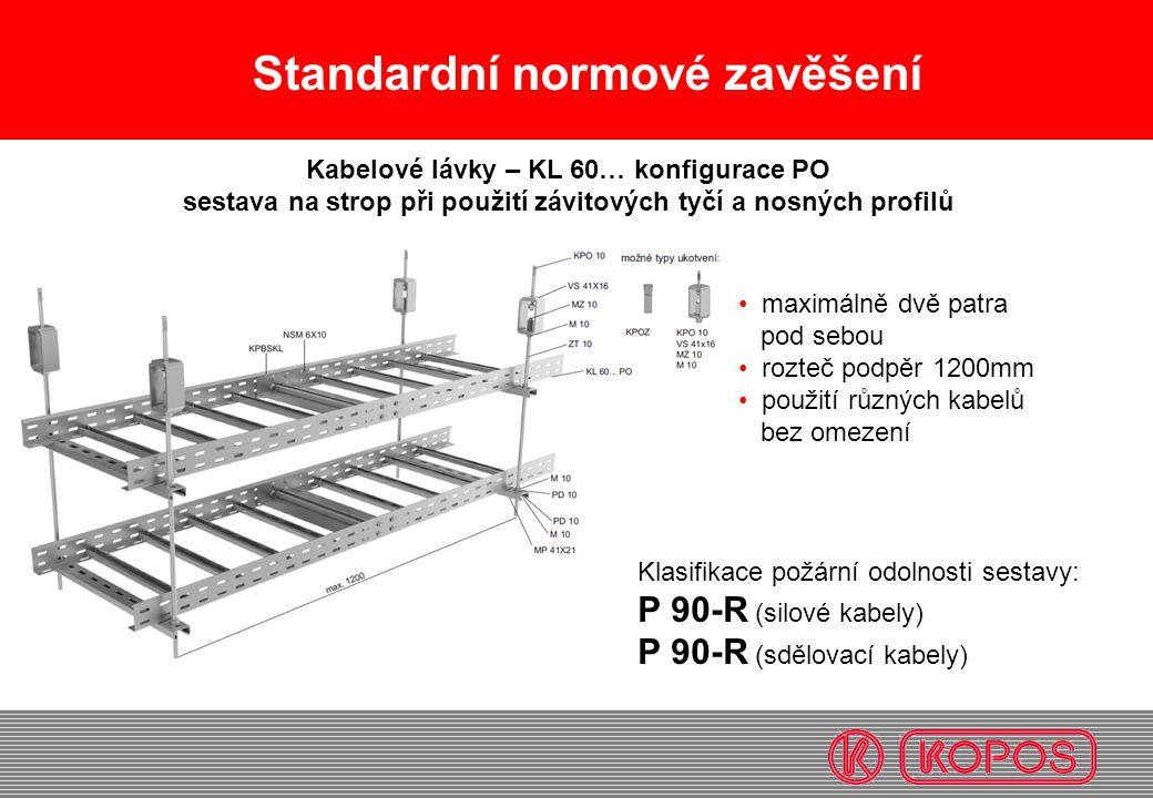 Standardní normové zavěšení • maximálně dvě patra pod sebou • rozteč podpěr 1200mm • použití různých kabelů bez omezení Kabelové lávky – KL 60… konfig