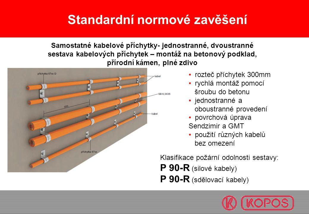 Standardní normové zavěšení • rozteč příchytek 300mm • rychlá montáž pomocí šroubu do betonu • jednostranné a oboustranné provedení • povrchová úprava