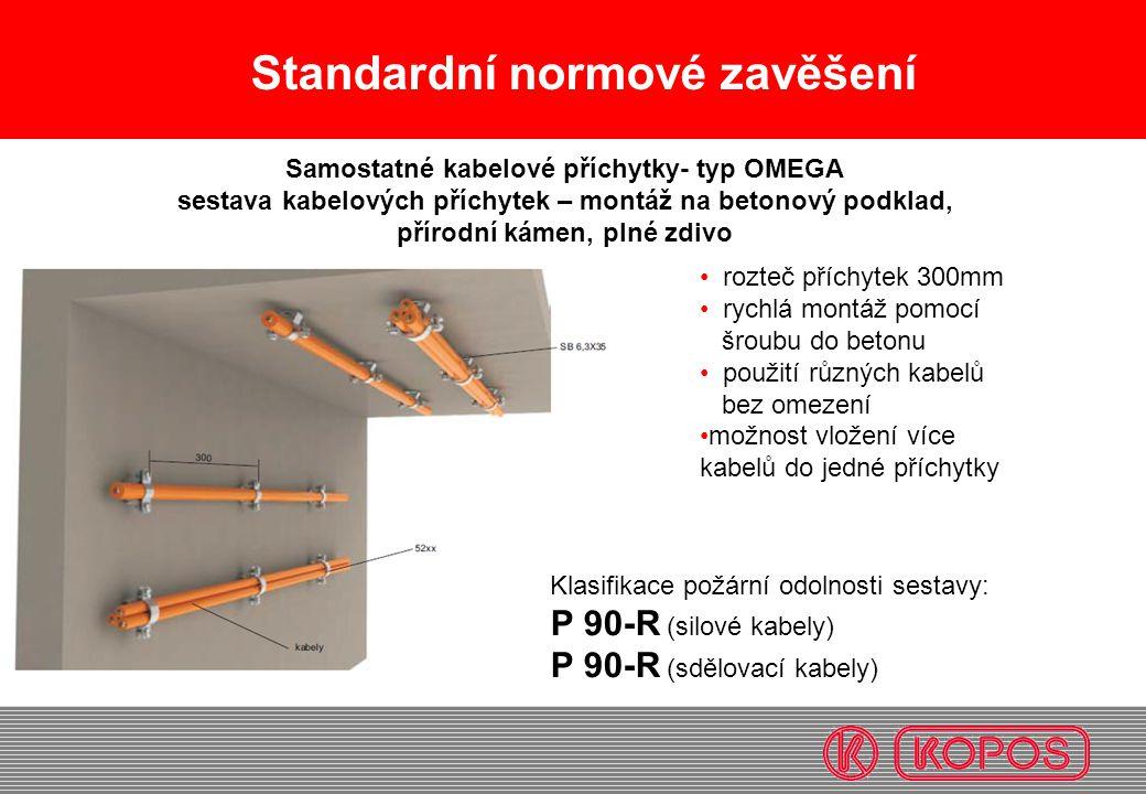 Standardní normové zavěšení • rozteč příchytek 300mm • rychlá montáž pomocí šroubu do betonu • použití různých kabelů bez omezení •možnost vložení víc