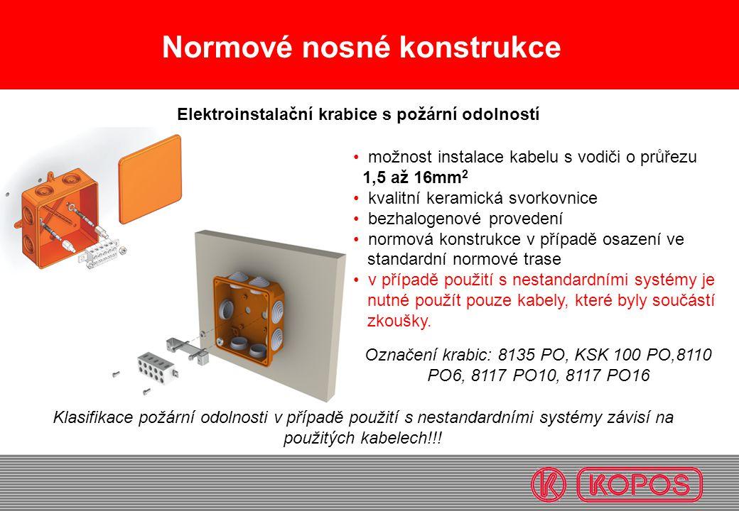 Normové nosné konstrukce • možnost instalace kabelu s vodiči o průřezu 1,5 až 16mm 2 • kvalitní keramická svorkovnice • bezhalogenové provedení • norm