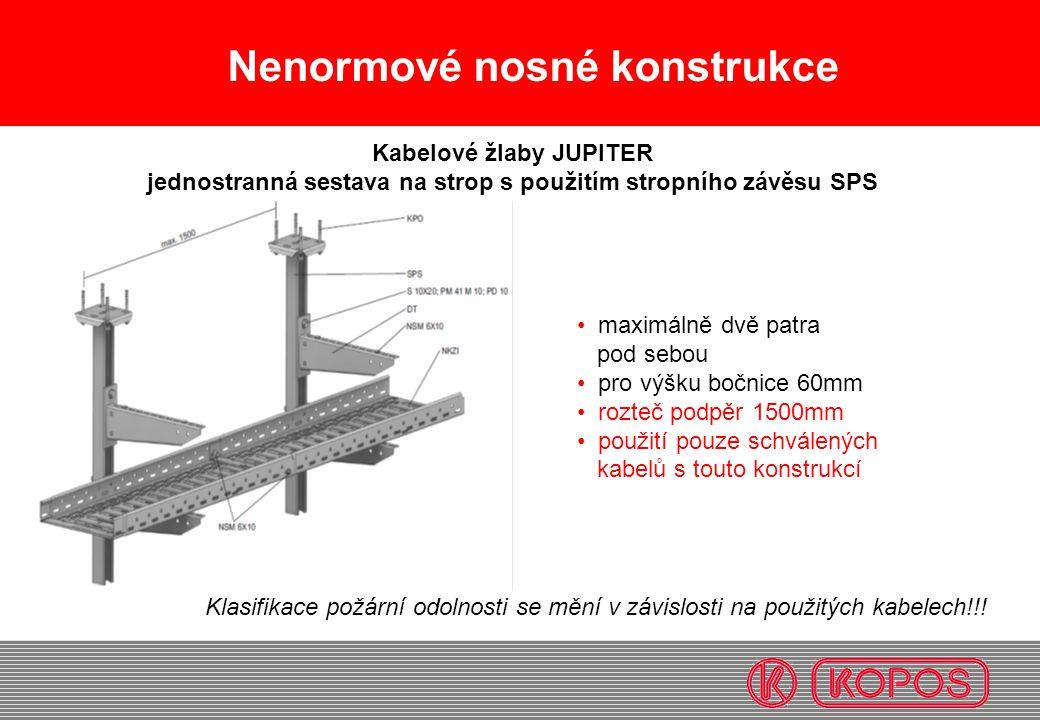 Nenormové nosné konstrukce • maximálně dvě patra pod sebou • pro výšku bočnice 60mm • rozteč podpěr 1500mm • použití pouze schválených kabelů s touto