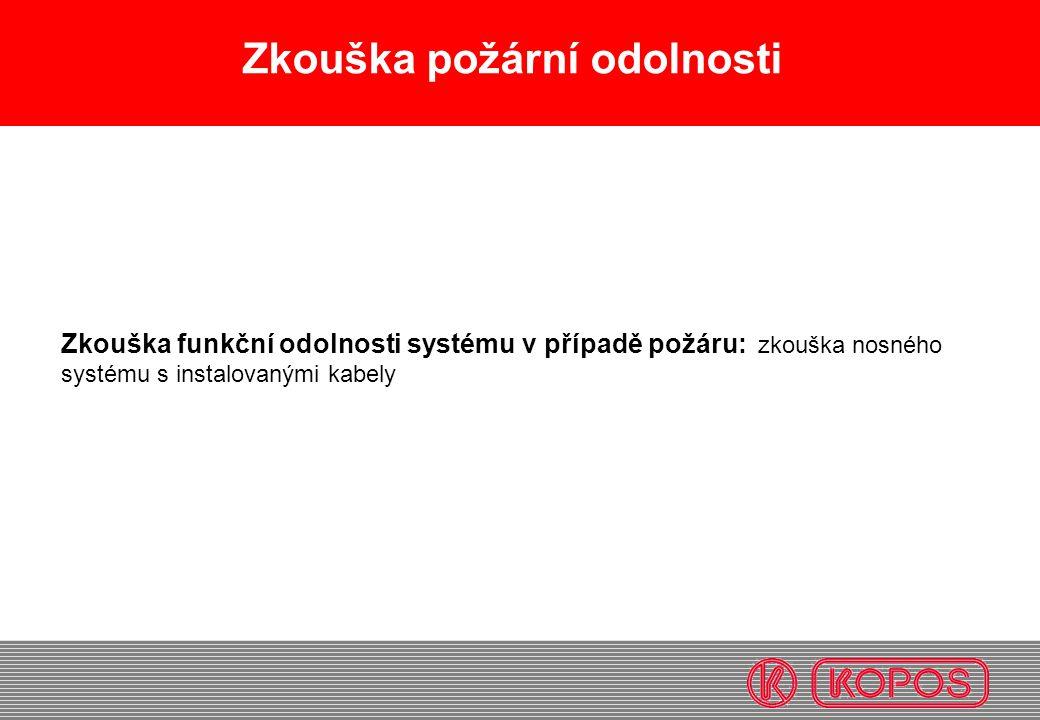 Zkouška požární odolnosti Zkouška funkční odolnosti systému v případě požáru: zkouška nosného systému s instalovanými kabely