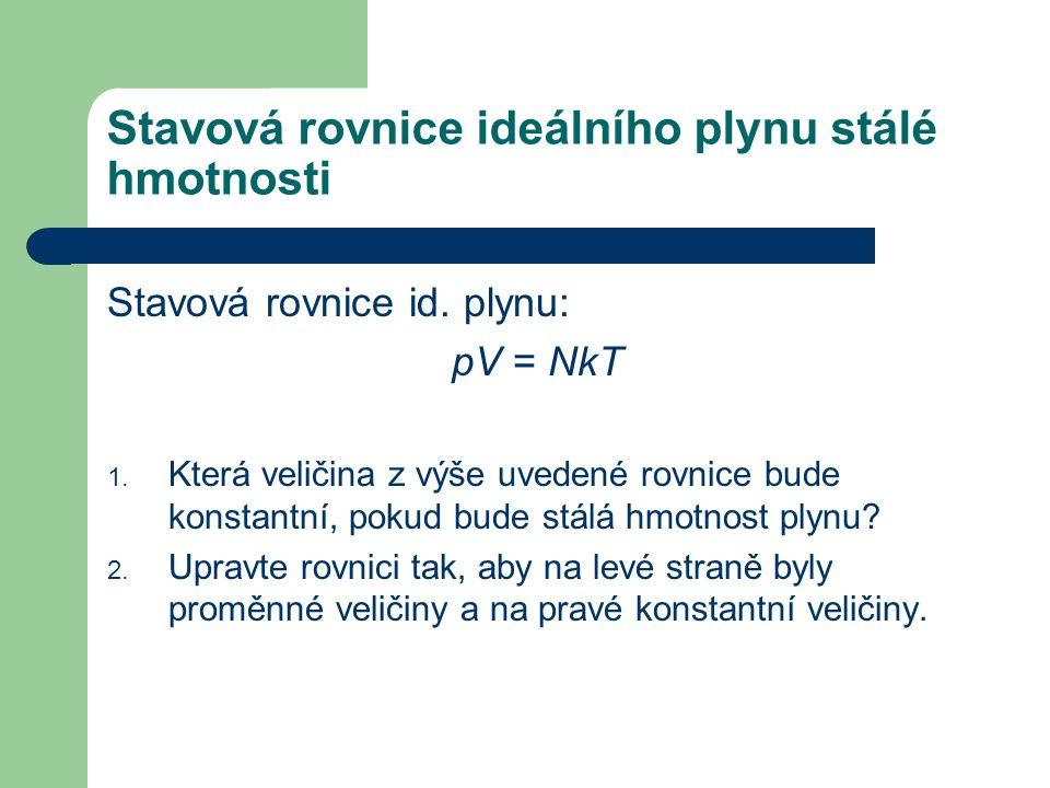 Stavová rovnice id.plynu: pV = NkT 1.