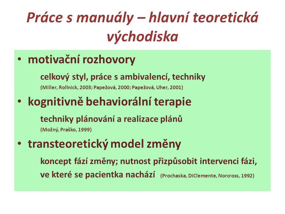Práce s manuály – hlavní teoretická východiska • motivační rozhovory celkový styl, práce s ambivalencí, techniky (Miller, Rollnick, 2003; Papežová, 20